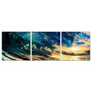Artistic Bliss Ocean Wave 3 Piece Framed Photographic Print Set