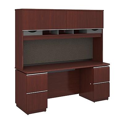 Bush Business Furniture Milano2 72W x 24D Credenza Desk with Hutch and 2 Pedestals, Harvest Cherry (MI2032CS)