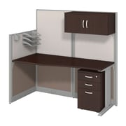 "Bush Business Office in an Hour Collection 65""W x 33""D Straight Workstation with Storage and Accessory Kit-Install"