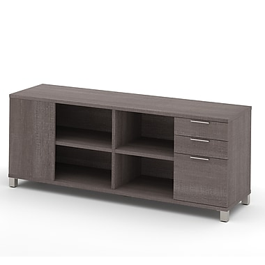 Pro-Linea Credenza with 3-Drawers, Bark Grey, (120611-1147)