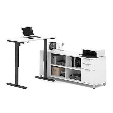 Pro-Linea L-Desk with Electric Height Adjustable Table, White, (120857-17)