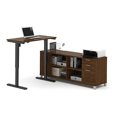 Pro-Linea L-Desk with Electric Height Adjustable Table, Oak Barrel, (120857-30)