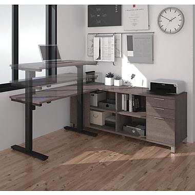 Pro-Linea – Bureau en L avec table à hauteur réglable électriquement, gris écorce (120857-47)