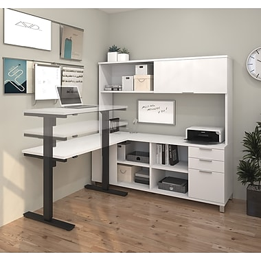 Pro-Linea L-Desk with Hutch and Electric Height Adjustable Table, White, (120858-17)