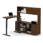 Pro-Linea L-Desk with Hutch and Electric Height Adjustable Table, Oak Barrel, (120858-30)