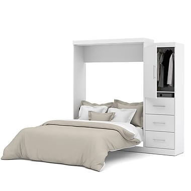 Nebula par Bestar – Ensemble grand lit escamotable 90 po, fini blanc (25882-17)