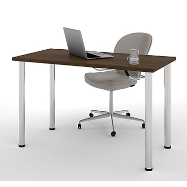 Bestar – Table avec pattes rondes en métal, 24 x 48 po, tuxedo, (65852-78)
