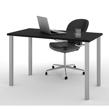 Bestar – Table avec pattes carrées en métal, 24 x 48 po, noir, (65855-18)