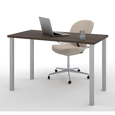 Bestar – Table avec pattes carrées en métal 24 x 48 (po), fini Antigua (65855-52)