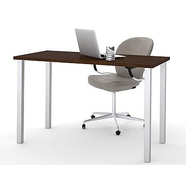 Bestar – Table avec pattes carrées en métal 24 x 48 (po), fini chocolat (65855-69)