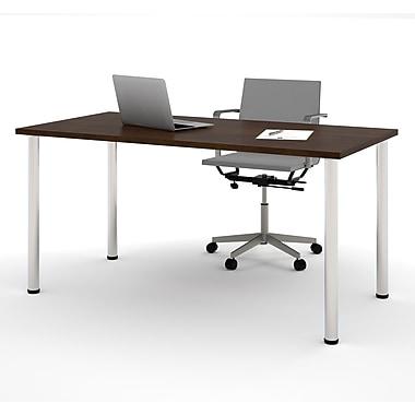Bestar – Table avec pattes rondes en métal, 30 x 60 (po), chocolat (65862-69)