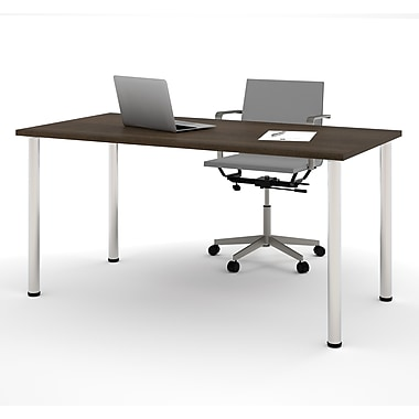 Bestar – Table avec pattes rondes en métal, 30 x 60 (po), tuxedo (65862-78)