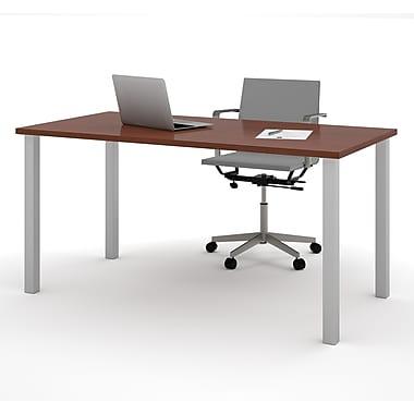 Bestar – Table avec pattes carrées en métal, 30 x 60 po, fini Bordeaux (65865-39)