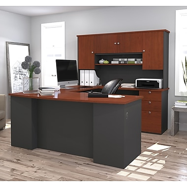 Manhattan U-Shaped Workstation, Bordeaux & Graphite, (81411-39)