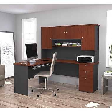 Manhattan L-Shaped Workstation, Bordeaux & Graphite, (81420-39)