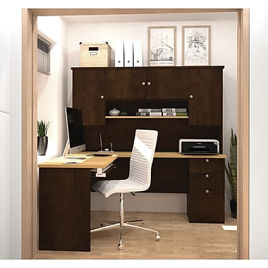 Manhattan L-Shaped Workstation, Secret Maple & Chocolate, (81420-75)