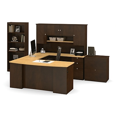 Manhattan U-Shaped Workstation with Lateral File And Bookcase, Secret Maple & Chocolate, (81850-75)