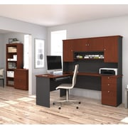 Manhattan L-Shaped Workstation With Lateral File And Bookcase, Bordeaux & Graphite, (81851-39)