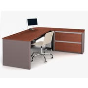 Bestar Connexion L-Shaped Workstation Including Assembled Oversized Pedestal, Bordeaux & Slate (93868-39)