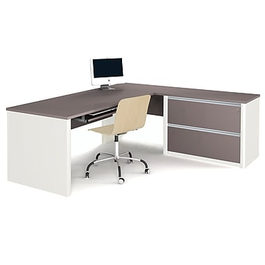 Bestar Connexion L-Shaped Workstation, Assembled Oversized Pedestal, Slate & Sandstone (93868-59)