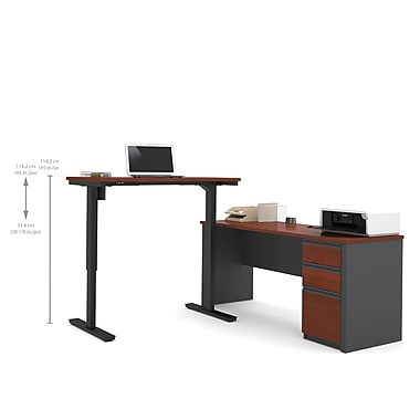 Bestar Prestige + L-Desk, Electric Height Adjustable Table, Bordeaux & Graphite (99885-39)