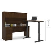 Bestar Prestige + L-Desk with Hutch, Electric Height Adjustable Table, Chocolate (99886-69)