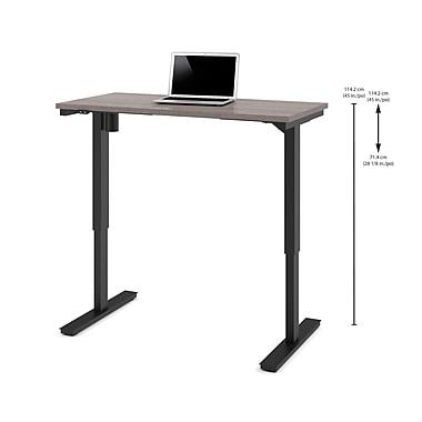 Bestar – Table motorisée à hauteur réglable, 24 po x 48 po, gris écorce (65857-47)