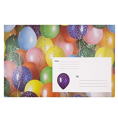 JAM Paper® Holiday Bubble Mailers, Large, 10.5 x 16, Party Balloons, 6/Pack