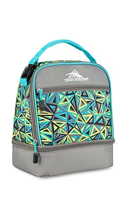 High Sierra Stacked Compartment Lunch Bag, Electric Geo/Charcoal Grey/Tropical Teal Geometric Print (74714-4947)