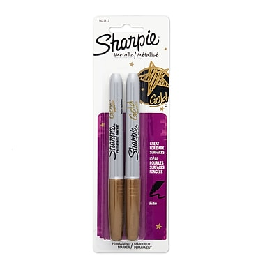 Sharpie® Metallic Markers, Fine Tip, Gold, 2/Pack