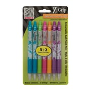 Zebra® Z-Grip Ballpoint Pens Bonus Pack, Retractable, 1.0mm tip, Assorted Colours, Floral Design Barrel, 5/Pack + 2 Pens
