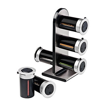Honey-Can-Do Zero Gravity Wall-Mounted Spice Rack with 6 Canisters, Black (KCH-06095)