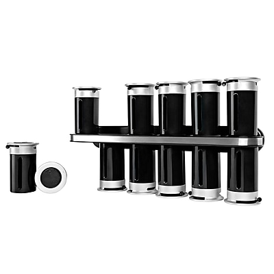 Honey Can Do KCH-06101 Magnetic Spice Rack W/12 Cnstrs-Blk/Slv
