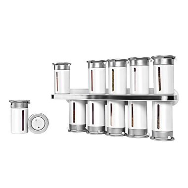 Honey-Can-Do Zero Gravity Wall-Mounted Spice Rack with 12 Canisters, White (KCH-06102)