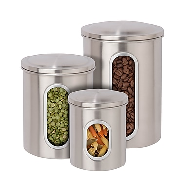 Honey-Can-Do Steel Canister Set, 3 Pieces, Clear Plastic Window, Stainless Top (KCH-06427)
