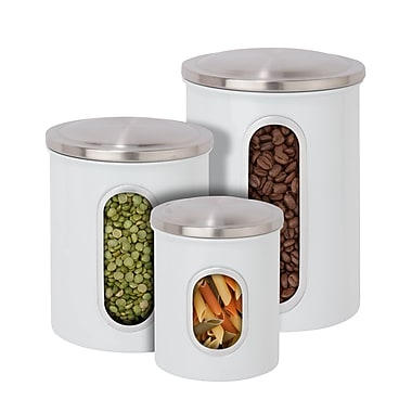 Honey-Can-Do 3 Piece Nested Canister Combo, White, Clear Plastic Window, Stainless Top (KCH-06428)