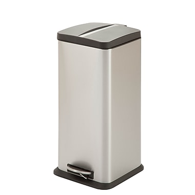 Honey-Can-Do Square Trash Can 30L, Stainless (TRS-03781)