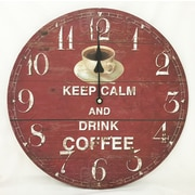 Creative Motion 13.38'' Keep Calm and Drink Coffee Clock