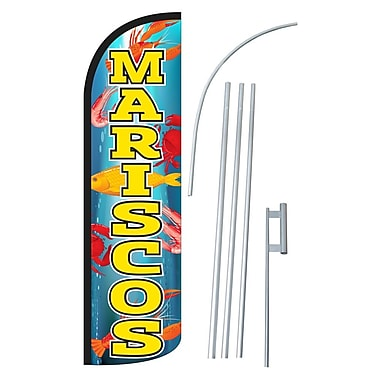 NeoPlex Mariscos Swooper Flag and Flagpole Set