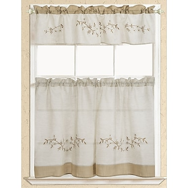 RT Designer's Collection Rustic Embroidered Kitchen Curtain