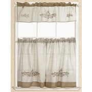 RT Designer's Collection Rustic Scroll Embroidered Kitchen Curtain