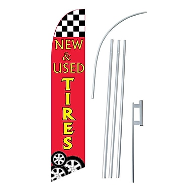 NeoPlex New and Used Tires Swooper Flag and Flagpole Set