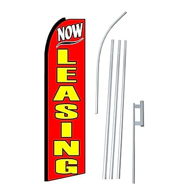 NeoPlex Now Leasing Swooper Flag and Flagpole Set
