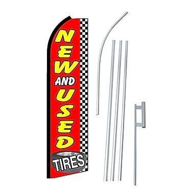 NeoPlex Tires New and Used Checkered Swooper Flag and Flagpole Set