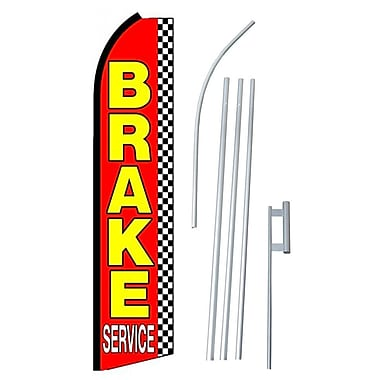 NeoPlex Brake Service Checkered Swooper Flag and Flagpole Set