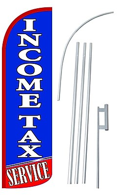 NeoPlex Income Tax Service Swooper Flag and Flagpole Set