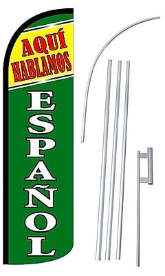 NeoPlex Aqui Hablamos Espanol Swooper Flag and Flagpole Set