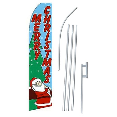 NeoPlex Merry Christmas Swooper Flag and Flagpole Set