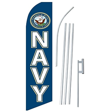 NeoPlex Military Navy Swooper Flag and Flagpole Set