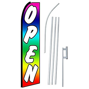 NeoPlex Open Rainbow Swooper Flag and Flagpole Set
